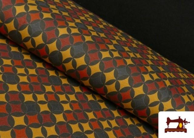 Tissu en Viscose avec Imprimé Géométrique Moutarde