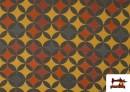 Vente de Tissu en Viscose avec Imprimé Géométrique Moutarde