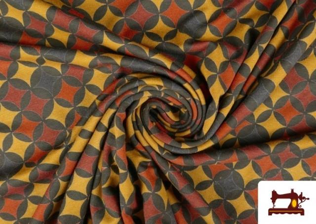 Acheter en ligne Tissu en Viscose avec Imprimé Géométrique Moutarde