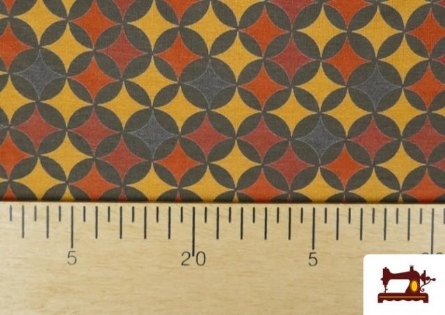 Vente en ligne de Tissu en Viscose avec Imprimé Géométrique Moutarde