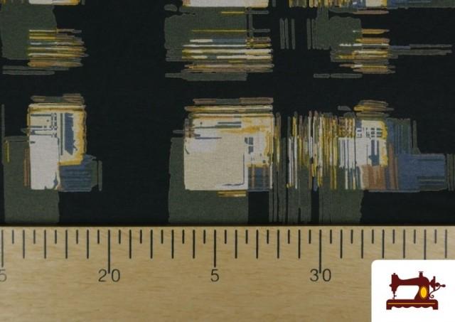 Acheter en ligne Tissu en Viscose avec Imprimé Reflets Carrés