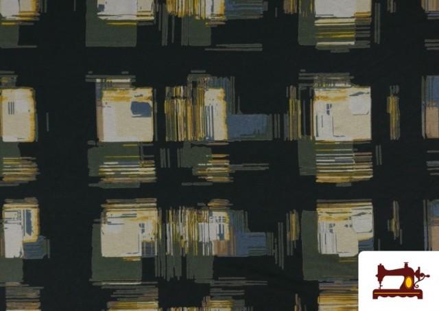 Acheter Tissu en Viscose avec Imprimé Reflets Carrés