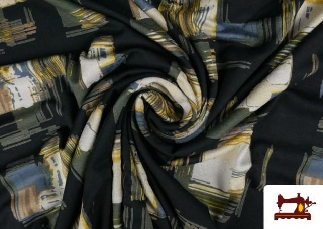 Vente en ligne de Tissu en Viscose avec Imprimé Reflets Carrés