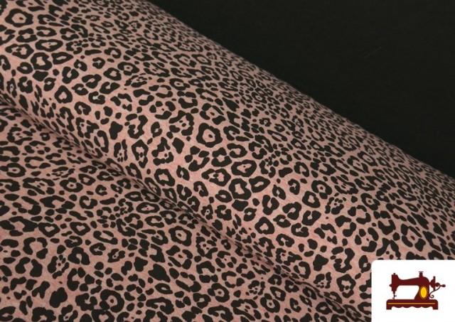 Tissu de Tee-Shirt avec Imprimé Léopard Rose