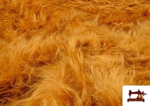 Acheter en ligne Tissu à Poil Long Cuivré Moutarde - Costume de Lion
