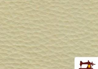 Tissu Simili Cuir Blanc-Écru
