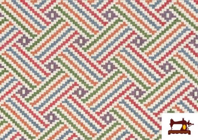 Vente de Tissu Tissé Multicolore Ethnique en Gobelin