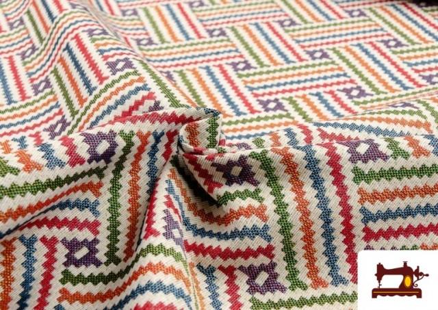 Tissu Tissé Multicolore Ethnique en Gobelin