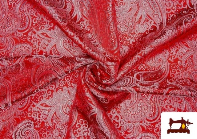 Tissu Jacquard en Soie de Couleurs avec Cachemire Argenté couleur Rouge