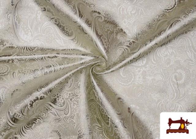 Acheter Tissu Jacquard en Soie de Couleurs avec Cachemire Argenté couleur Argenté