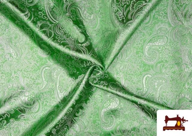 Vente de Tissu Jacquard en Soie de Couleurs avec Cachemire Argenté couleur Vert