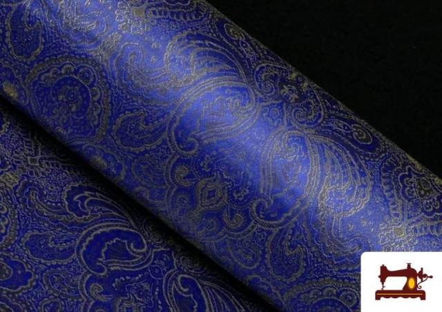Tissu en Jacquard Bleu avec Fleurs Dorées