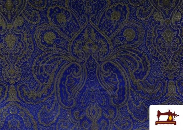 Vente de Tissu en Jacquard Bleu avec Fleurs Dorées