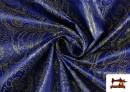 Acheter en ligne Tissu en Jacquard Bleu avec Fleurs Dorées