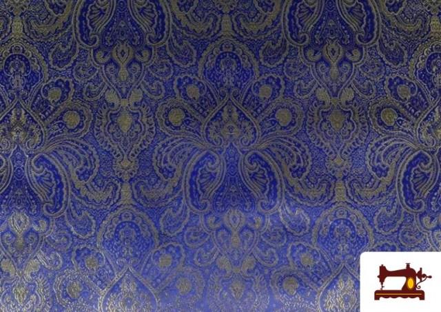 Acheter Tissu en Jacquard Bleu avec Fleurs Dorées