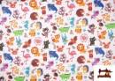 Vente de Tissu Popeline en Coton Imprimé avec Animaux Infantiles
