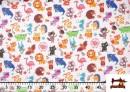 Acheter en ligne Tissu Popeline en Coton Imprimé avec Animaux Infantiles