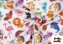 Vente en ligne de Tissu Popeline en Coton Imprimé avec Animaux Infantiles