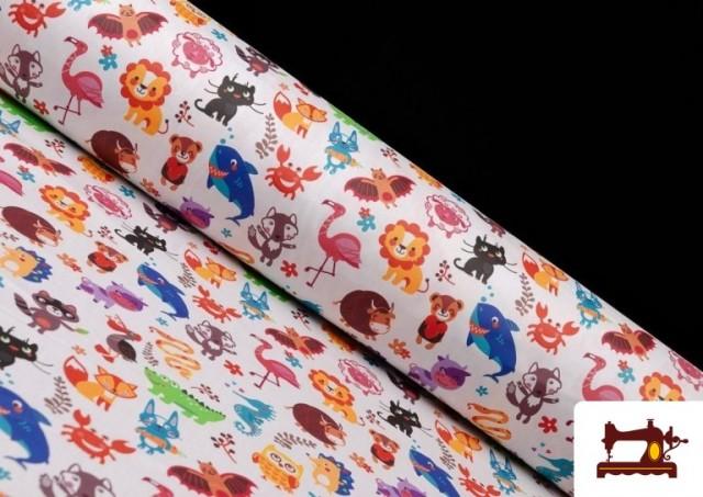 Tissu Popeline en Coton Imprimé avec Animaux Infantiles