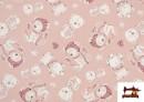 Acheter en ligne Tissu Viyella en Coton Organique Imprimé couleur Rose pâle