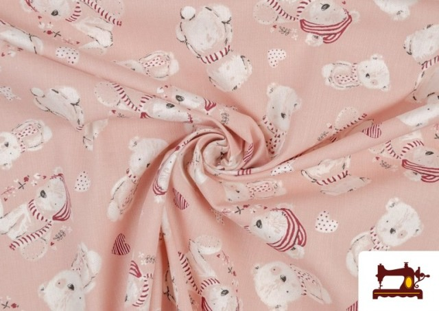 Tissu Viyella en Coton Organique Imprimé couleur Rose pâle