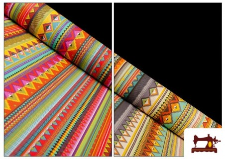 Tissu en Coton Imprimé avec Rayures Ethniques Multicolores