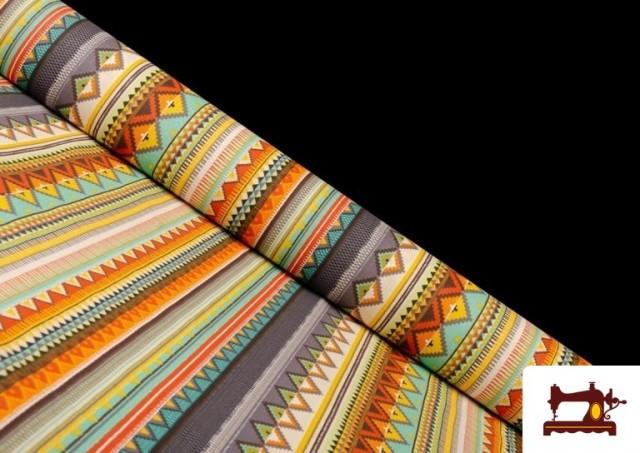 Acheter Tissu en Coton Imprimé avec Rayures Ethniques Multicolores couleur Violet