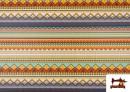 Vente de Tissu en Coton Imprimé avec Rayures Ethniques Multicolores couleur Violet