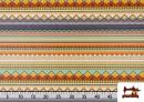 Acheter en ligne Tissu en Coton Imprimé avec Rayures Ethniques Multicolores couleur Violet