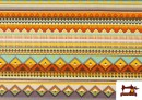 Vente en ligne de Tissu en Coton Imprimé avec Rayures Ethniques Multicolores couleur Violet