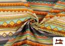 Tissu en Coton Imprimé avec Rayures Ethniques Multicolores couleur Violet