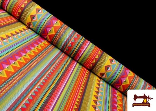 Tissu en Coton Imprimé avec Rayures Ethniques Multicolores couleur Rosé