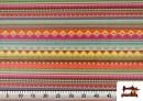 Acheter Tissu en Coton Imprimé avec Rayures Ethniques Multicolores couleur Rosé