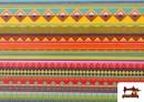Vente de Tissu en Coton Imprimé avec Rayures Ethniques Multicolores couleur Rosé