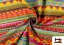 Acheter en ligne Tissu en Coton Imprimé avec Rayures Ethniques Multicolores couleur Rosé