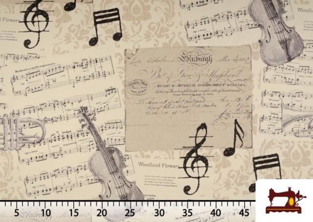 Vente de Tissu pour Décoration avec Motifs de la Musique couleur Beige