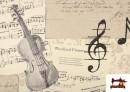 Acheter en ligne Tissu pour Décoration avec Motifs de la Musique couleur Beige