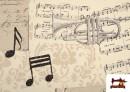 Vente en ligne de Tissu pour Décoration avec Motifs de la Musique couleur Beige
