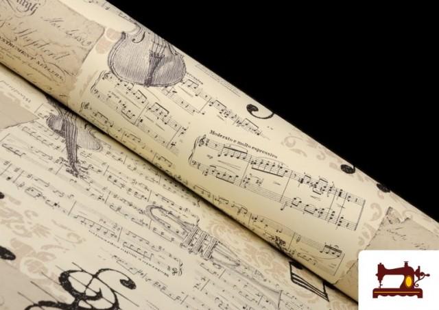 Tissu pour Décoration avec Motifs de la Musique couleur Beige