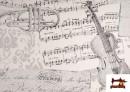 Acheter Tissu pour Décoration avec Motifs de la Musique couleur Blanc