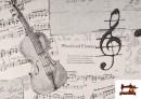 Vente de Tissu pour Décoration avec Motifs de la Musique couleur Blanc