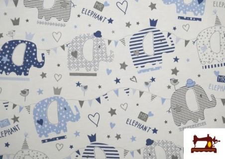 Acheter Tissu Piqué en Coton Imprimé avec Éléphants