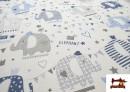 Acheter en ligne Tissu Piqué en Coton Imprimé avec Éléphants