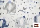 Vente de Tissu Piqué en Coton Imprimé avec Éléphants