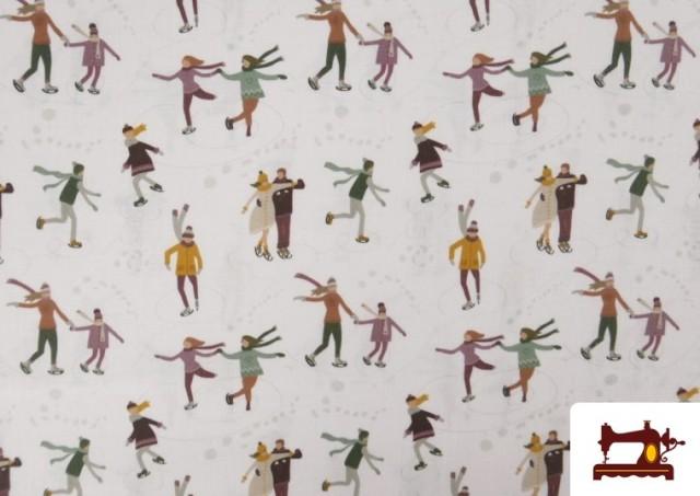 Vente de Tissu de Noël Imprimé avec Patinoire