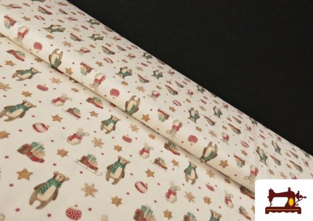 Tissu de Noël Imprimé avec Ours en Peluche et Souris