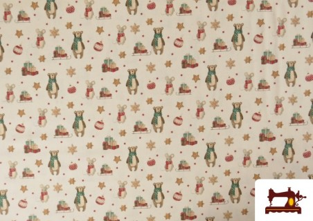 Acheter Tissu de Noël Imprimé avec Ours en Peluche et Souris