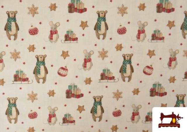 Vente de Tissu de Noël Imprimé avec Ours en Peluche et Souris