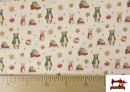 Acheter en ligne Tissu de Noël Imprimé avec Ours en Peluche et Souris