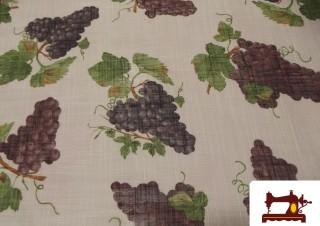 Tissu en Lin avec Imprimé Grappes de Raisins